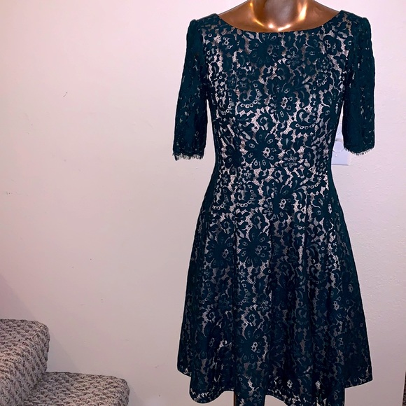 ELIZA J Emerald Green Lace Fit & Flare Dress sz 8